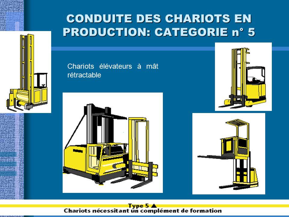 CONDUITE DES CHARIOTS EN PRODUCTION: CATEGORIE n° 4 Chariots élévateurs en porte-à-faux de capacité supérieure à 6000 kg