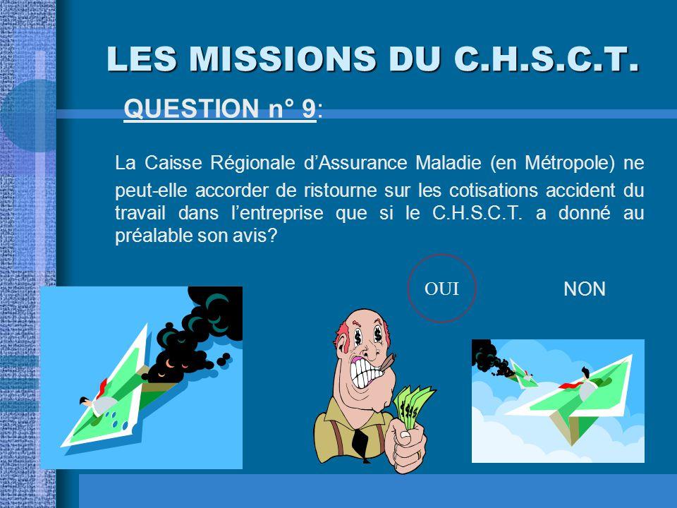 LES MISSIONS DU C.H.S.C.T. QUESTION n° 8: Dans un établissement de 90 salariés, le chef d'établissement est-il tenu de laisser à chacun des représenta
