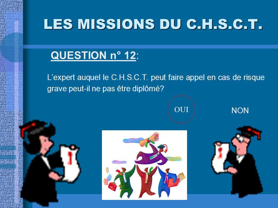 LES MISSIONS DU C.H.S.C.T. QUESTION n° 11: Le C.H.S.C.T. participe-t-il à la préparation des actions de formation pour les nouveaux embauchés? OUINON