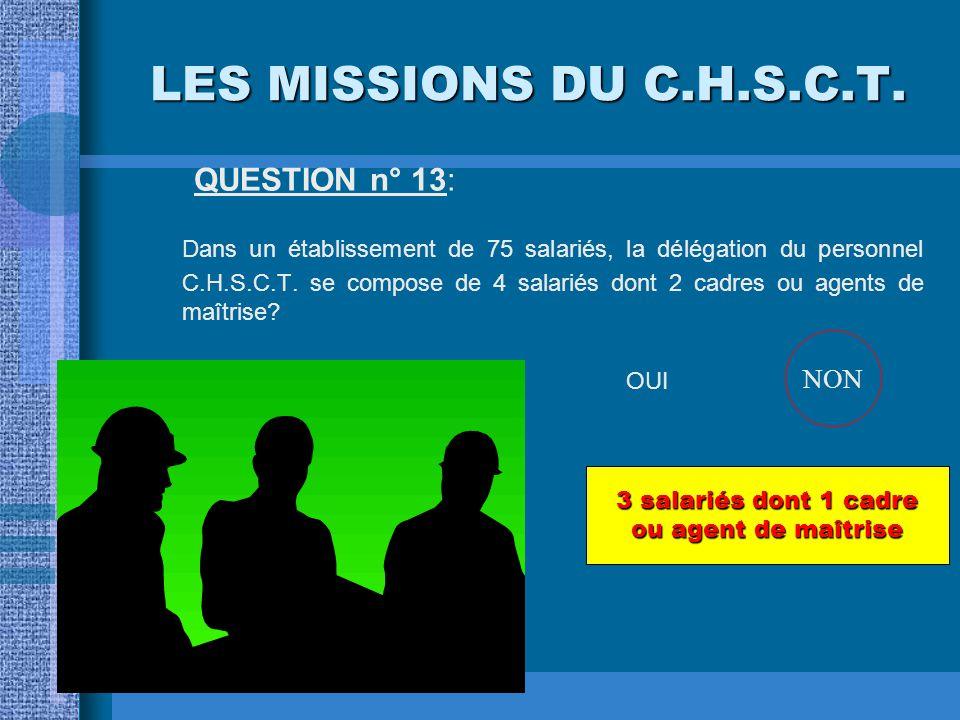LES MISSIONS DU C.H.S.C.T. QUESTION n° 12: L'expert auquel le C.H.S.C.T. peut faire appel en cas de risque grave peut-il ne pas être diplômé? OUINON O