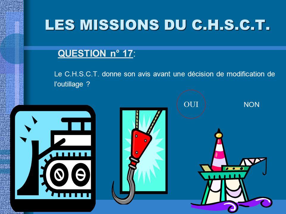 LES MISSIONS DU C.H.S.C.T. QUESTION n° 16: Le plan annuel de prévention des risques professionnels est présenté par le secrétaire du C.H.S.C.T. à la d