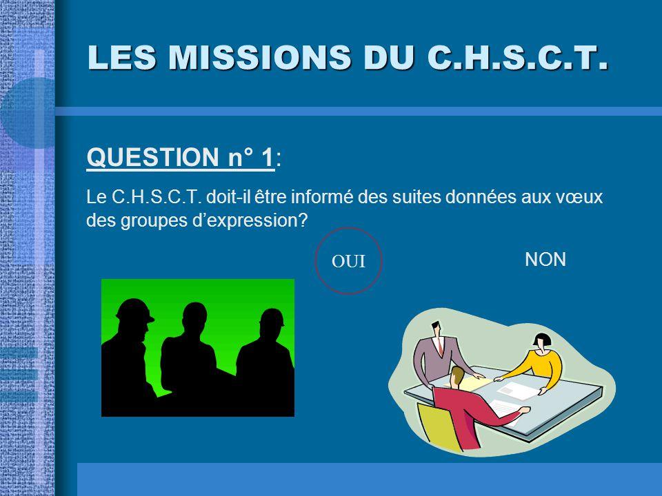 LES MISSIONS DU C.H.S.C.T.QUESTION n° 1: Le C.H.S.C.T.