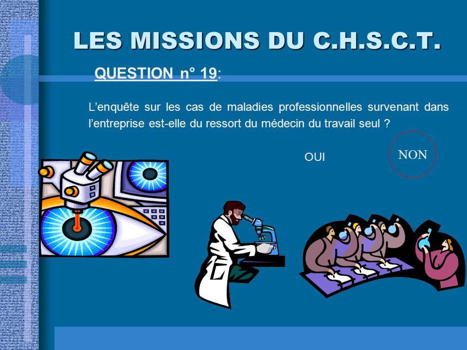 LES MISSIONS DU C.H.S.C.T. QUESTION n° 18: Dans le domaine des conditions de travail, le C.H.S.C.T. est-il associé à la recherche de solutions touchan