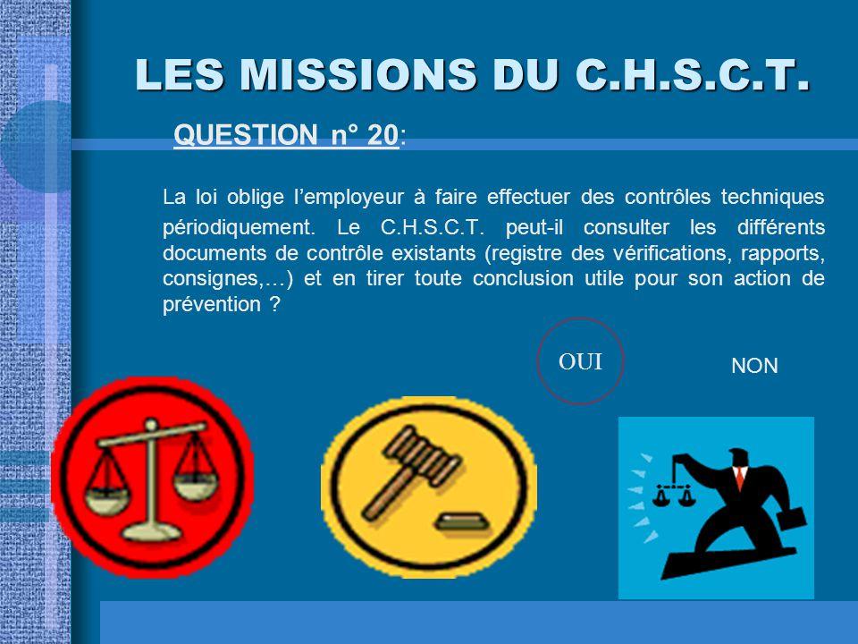 LES MISSIONS DU C.H.S.C.T. QUESTION n° 19: L'enquête sur les cas de maladies professionnelles survenant dans l'entreprise est-elle du ressort du médec