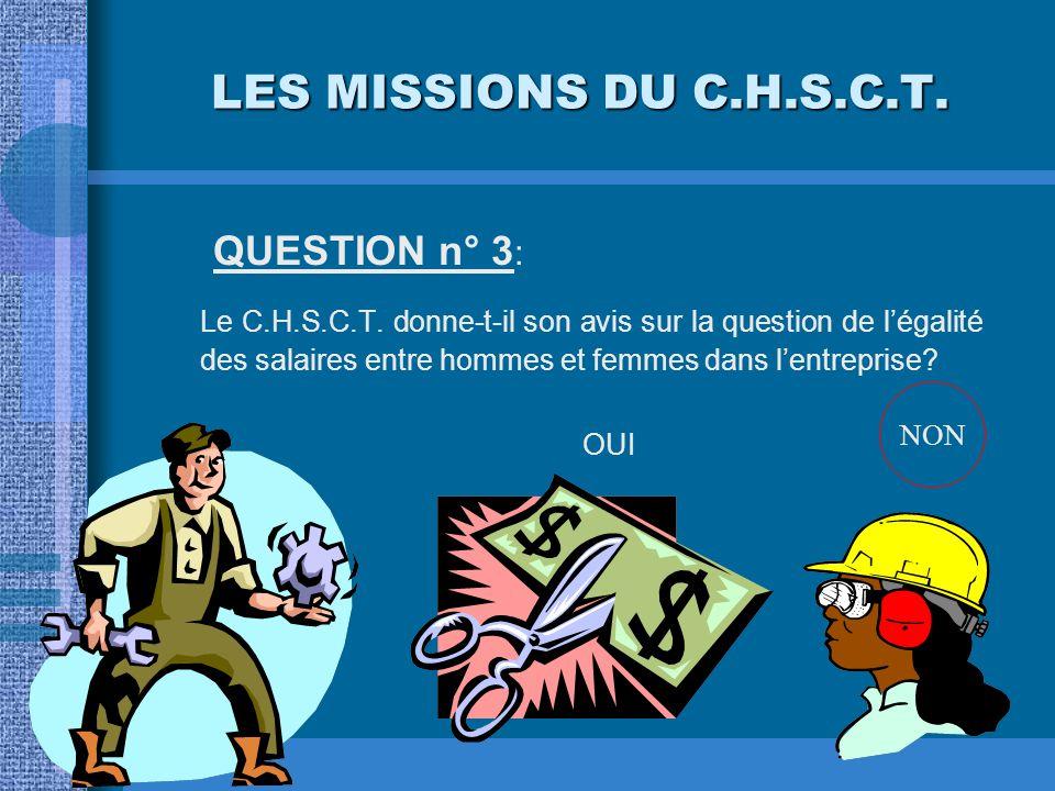 LES MISSIONS DU C.H.S.C.T. QUESTION n° 2: Le C.H.S.C.T. peut-il confier à l'un de ses membres une mission d'inspection? OUINON OUI