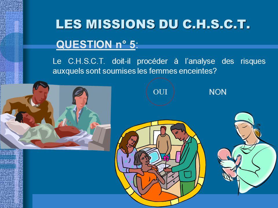 LES MISSIONS DU C.H.S.C.T. QUESTION n° 4: Le C.H.S.C.T. doit-il être associé à l'étude des problèmes concernant l'organisation du travail? OUINON OUI