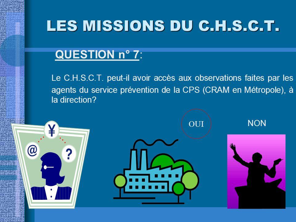 LES MISSIONS DU C.H.S.C.T. QUESTION n° 6: Le C.H.S.C.T. a-t-il parmi ses attributions, celle de veiller à la sécurité des travailleurs temporaires? OU