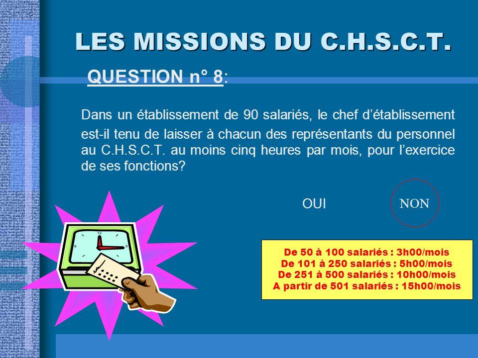 LES MISSIONS DU C.H.S.C.T.QUESTION n° 18: Dans le domaine des conditions de travail, le C.H.S.C.T.