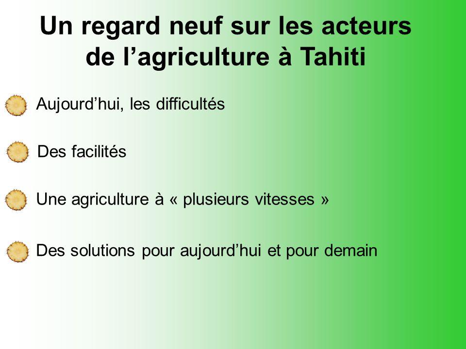 Des facilités Aujourd'hui, les difficultés Un regard neuf sur les acteurs de l'agriculture à Tahiti Une agriculture à « plusieurs vitesses » Des solut