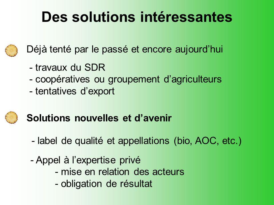 Des solutions intéressantes Déjà tenté par le passé et encore aujourd'hui - travaux du SDR - coopératives ou groupement d'agriculteurs - tentatives d'