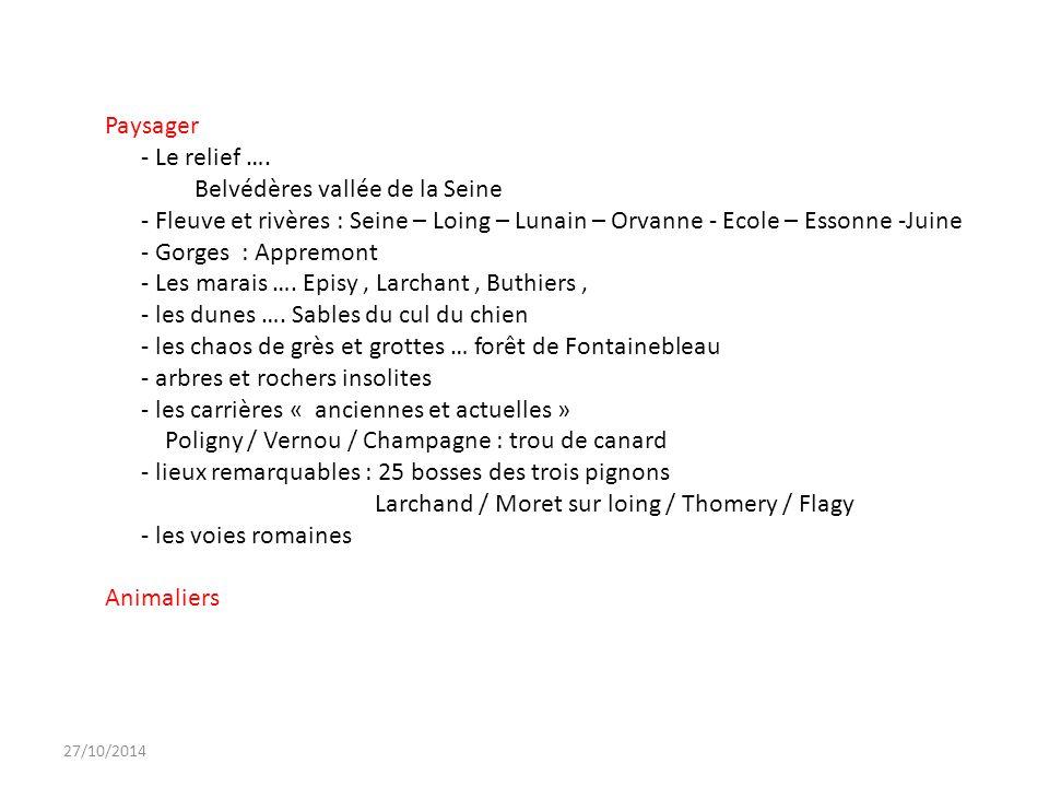 27/10/2014 Paysager - Le relief …. Belvédères vallée de la Seine - Fleuve et rivères : Seine – Loing – Lunain – Orvanne - Ecole – Essonne -Juine - Gor