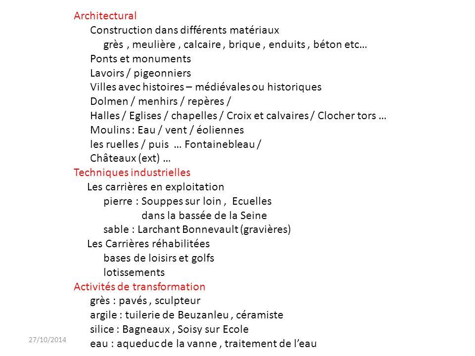 27/10/2014 Architectural Construction dans différents matériaux grès, meulière, calcaire, brique, enduits, béton etc… Ponts et monuments Lavoirs / pig
