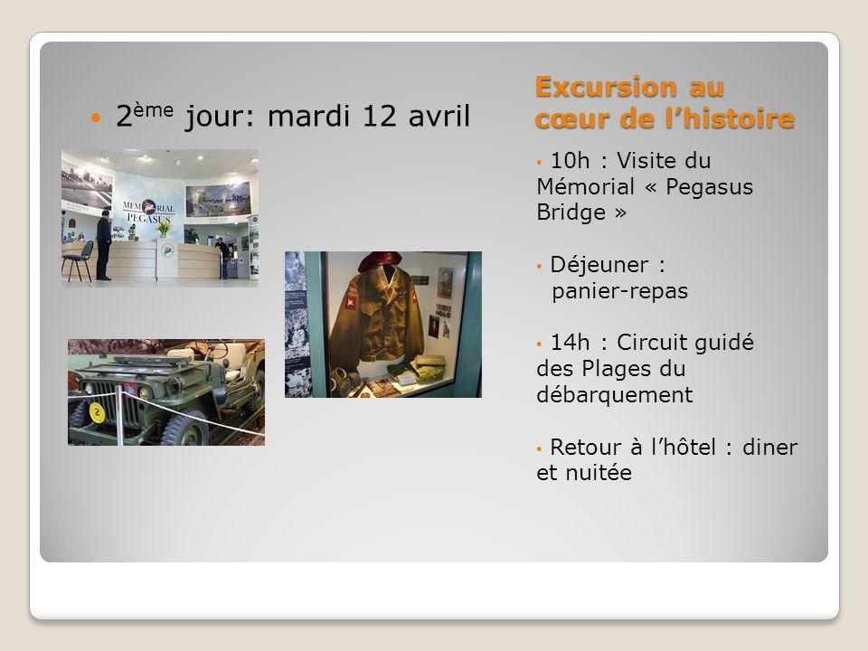Excursion au cœur de l'histoire 10h : Visite du Mémorial « Pegasus Bridge » Déjeuner : panier-repas 14h : Circuit guidé des Plages du débarquement Retour à l'hôtel : diner et nuitée 2 ème jour: mardi 12 avril