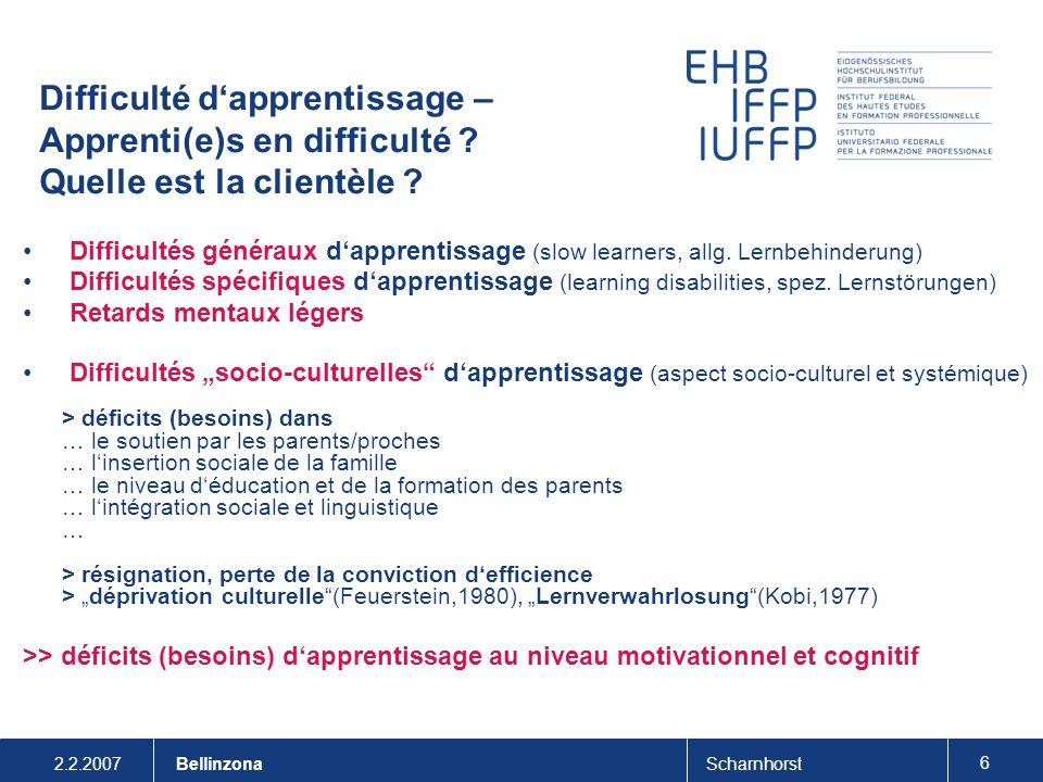 2.2.2007Scharnhorst 6 Bellinzona Difficulté d'apprentissage – Apprenti(e)s en difficulté ? Quelle est la clientèle ? Difficultés généraux d'apprentiss