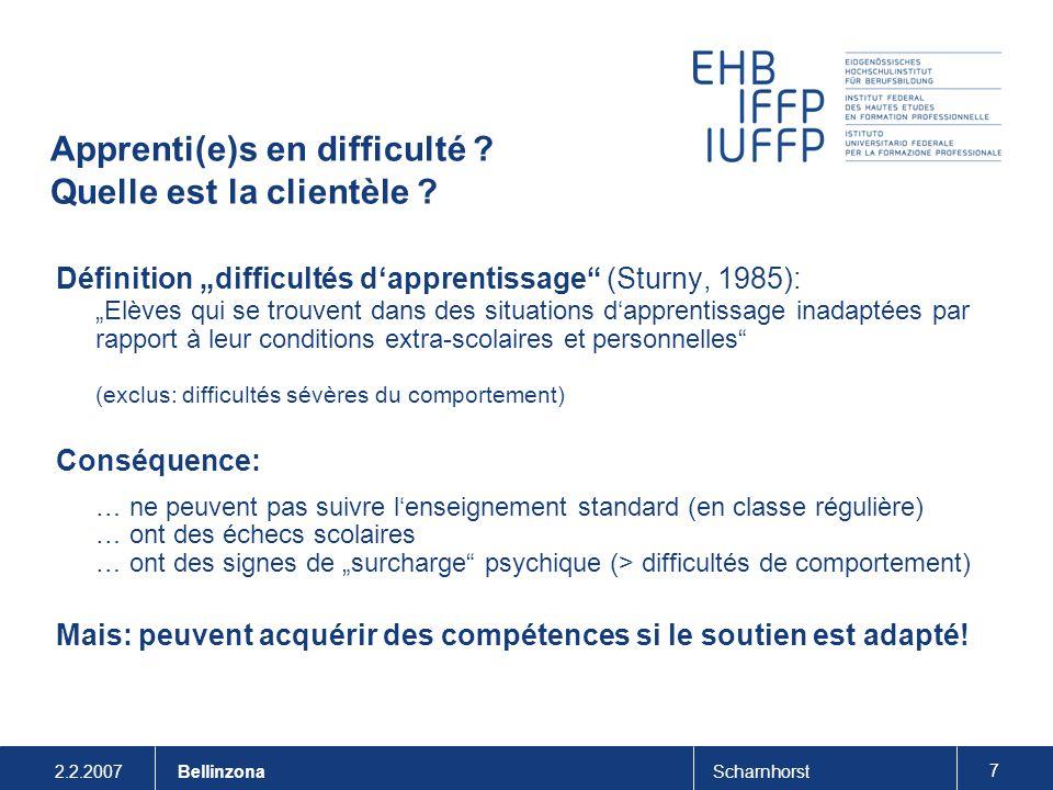 """2.2.2007Scharnhorst 7 Bellinzona Apprenti(e)s en difficulté ? Quelle est la clientèle ? Définition """"difficultés d'apprentissage"""" (Sturny, 1985): """"Elèv"""
