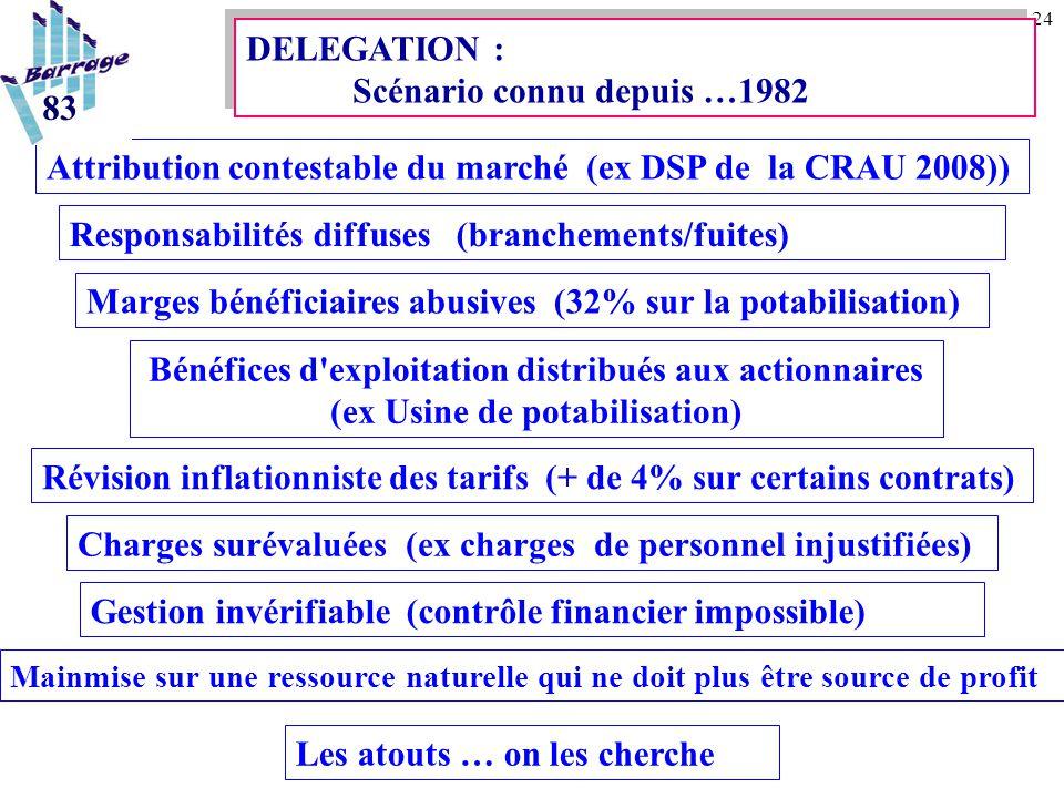24 DELEGATION : Scénario connu depuis …1982 Attribution contestable du marché (ex DSP de la CRAU 2008)) Responsabilités diffuses (branchements/fuites)