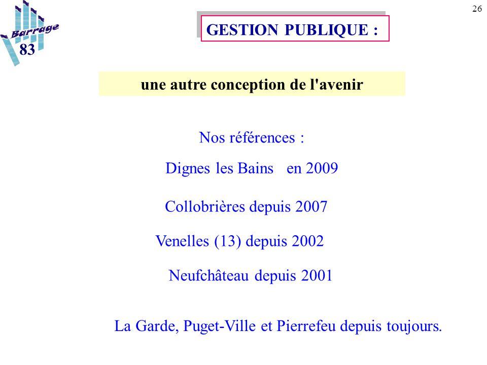 26 La Garde, Puget-Ville et Pierrefeu depuis toujours. GESTION PUBLIQUE : une autre conception de l'avenir Nos références : Dignes les Bains en 2009 C