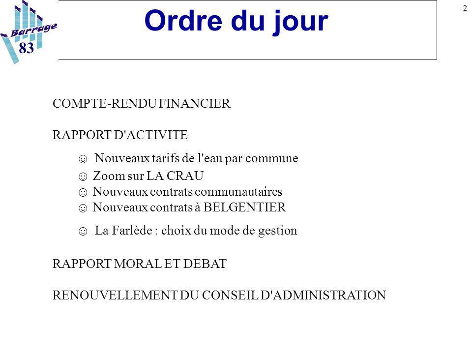 2 Ordre du jour COMPTE-RENDU FINANCIER RAPPORT D'ACTIVITE ☺ Nouveaux tarifs de l'eau par commune ☺ Zoom sur LA CRAU ☺ Nouveaux contrats communautaires