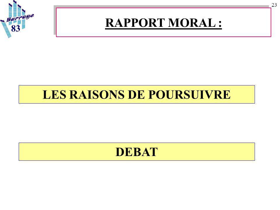 23 LES RAISONS DE POURSUIVRE RAPPORT MORAL : 83 DEBAT