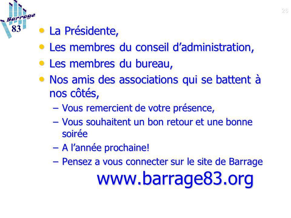 26 La Présidente, La Présidente, Les membres du conseil d'administration, Les membres du conseil d'administration, Les membres du bureau, Les membres