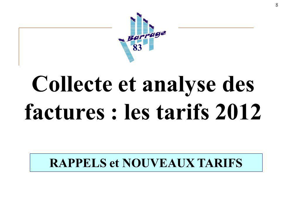 8 Collecte et analyse des factures : les tarifs 2012 83 RAPPELS et NOUVEAUX TARIFS