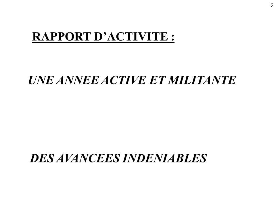 3 UNE ANNEE ACTIVE ET MILITANTE RAPPORT D'ACTIVITE : DES AVANCEES INDENIABLES