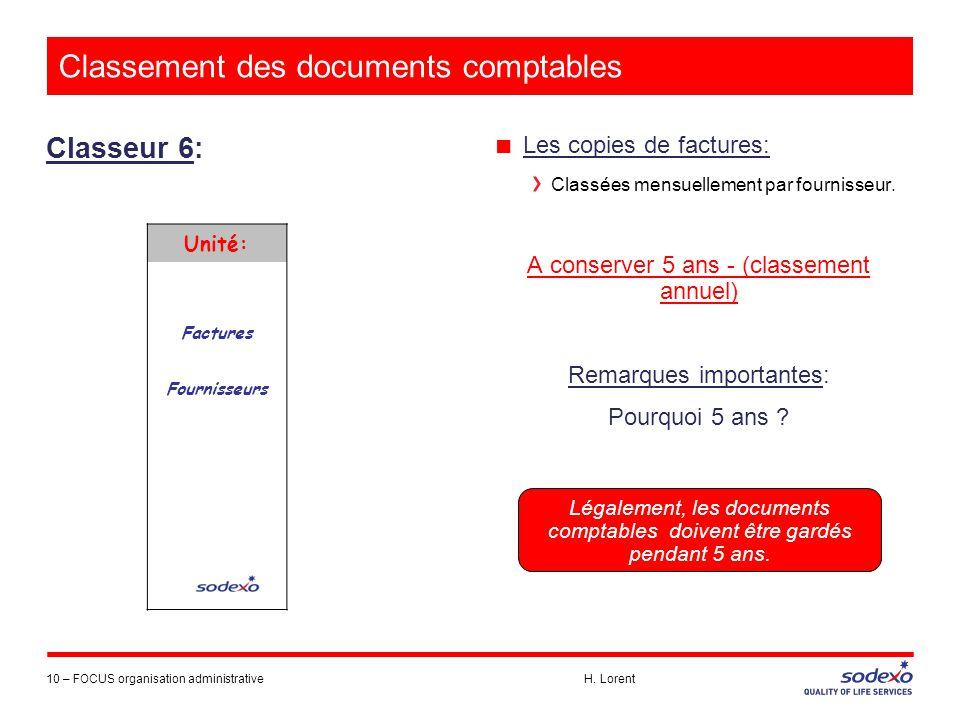 Classement des documents comptables Classeur 6: 10 –FOCUS organisation administrative H. Lorent ■ Les copies de factures: Classées mensuellement par f