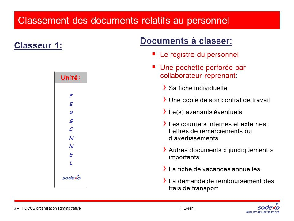 Classement des documents relatifs au personnel Classeur 1: 3 –FOCUS organisation administrative H. Lorent Documents à classer:  Le registre du person