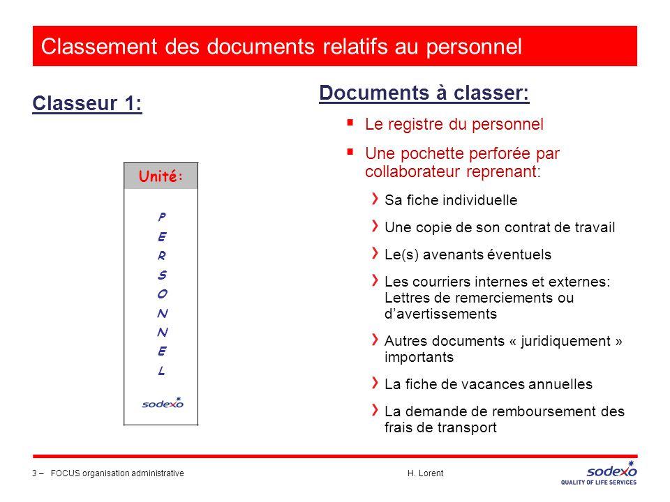 Classement des documents relatifs au personnel Classeur 1: 4 –FOCUS organisation administrative H.