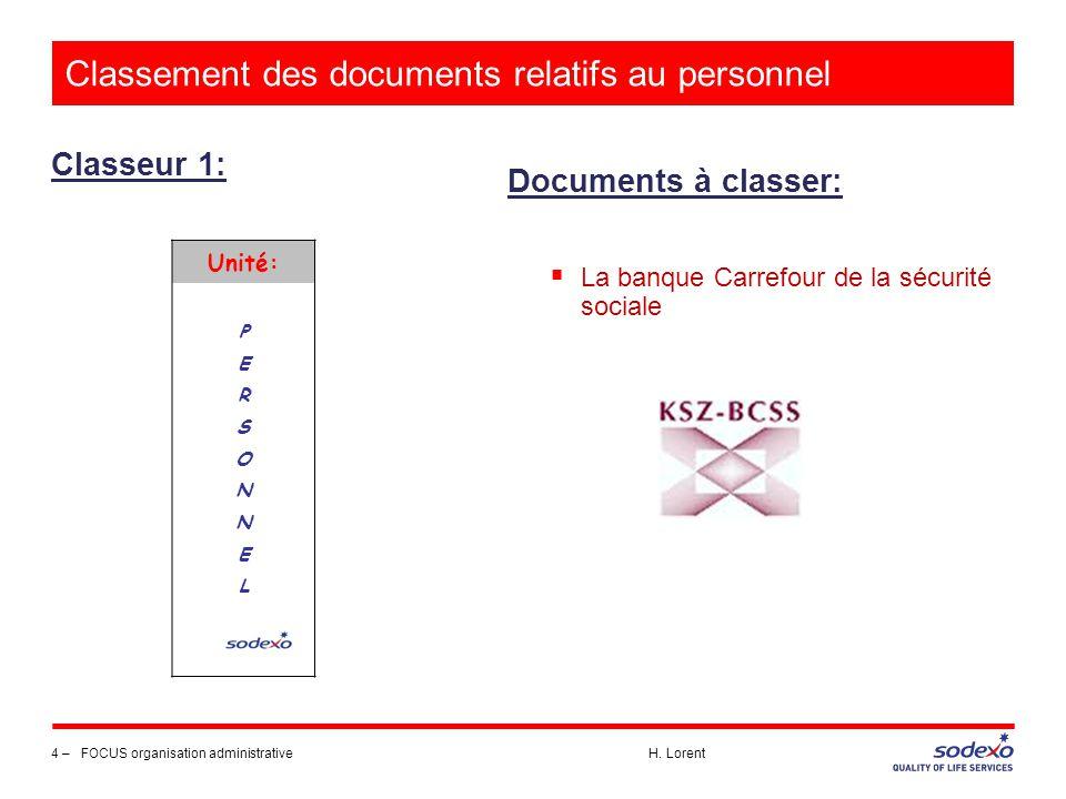 Classement des documents relatifs au personnel Classeur 1: 4 –FOCUS organisation administrative H. Lorent Documents à classer:  La banque Carrefour d