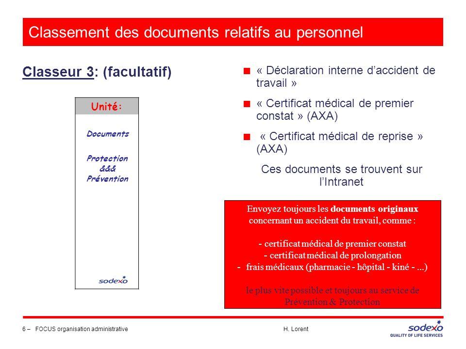 Classement des documents relatifs au personnel Classeur 3: (facultatif) 6 –FOCUS organisation administrative H. Lorent Unité: Documents Protection &&&