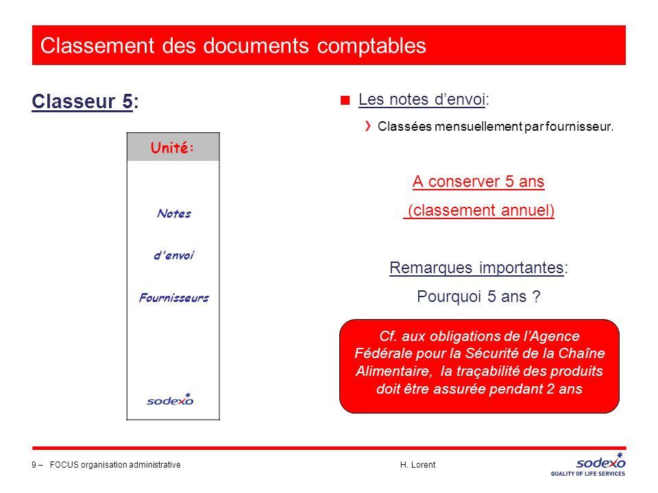 Classement des documents comptables Classeur 5: 9 –FOCUS organisation administrative H. Lorent ■ Les notes d'envoi: Classées mensuellement par fournis