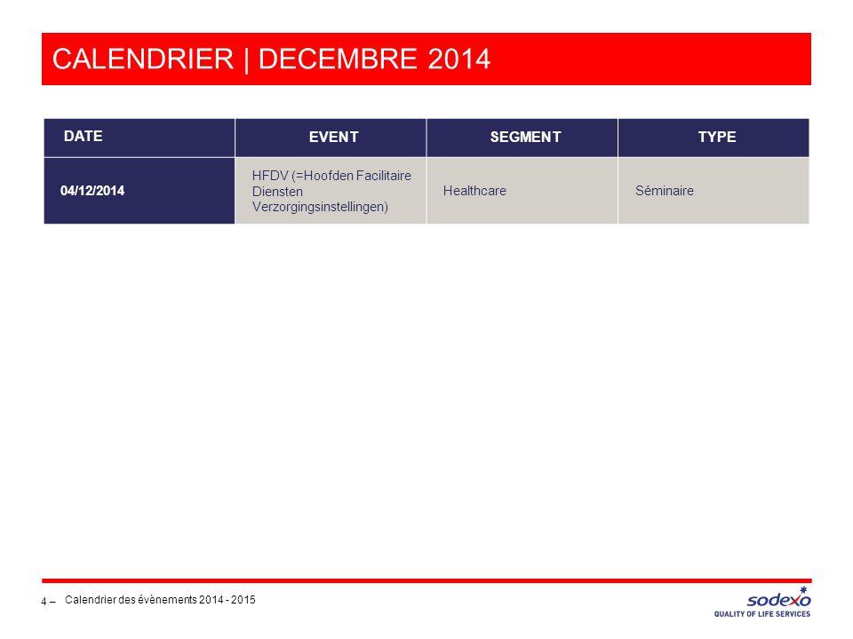 CALENDRIER | DECEMBRE 2014 4 – Calendrier des évènements 2014 - 2015 DATE EVENTSEGMENTTYPE 04/12/2014 HFDV (=Hoofden Facilitaire Diensten Verzorgingsinstellingen) HealthcareSéminaire
