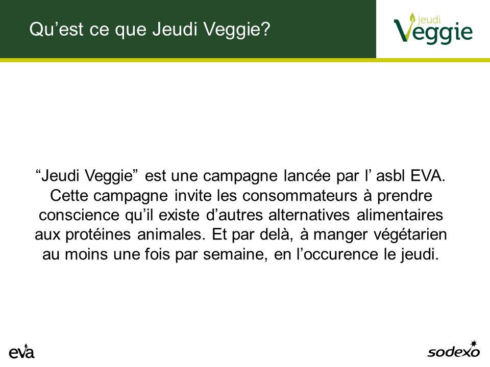 Qu'est ce que Jeudi Veggie. Jeudi Veggie est une campagne lancée par l' asbl EVA.