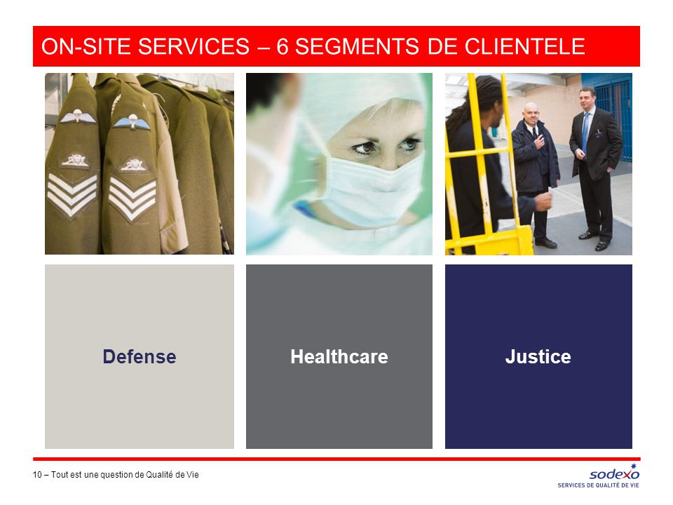 ON-SITE SERVICES – 6 SEGMENTS DE CLIENTELE 10 –Tout est une question de Qualité de Vie Defense Healthcare Justice