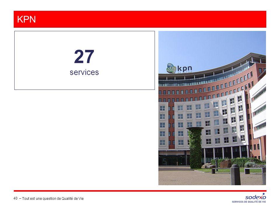 KPN 27 services 40 – Tout est une question de Qualité de Vie
