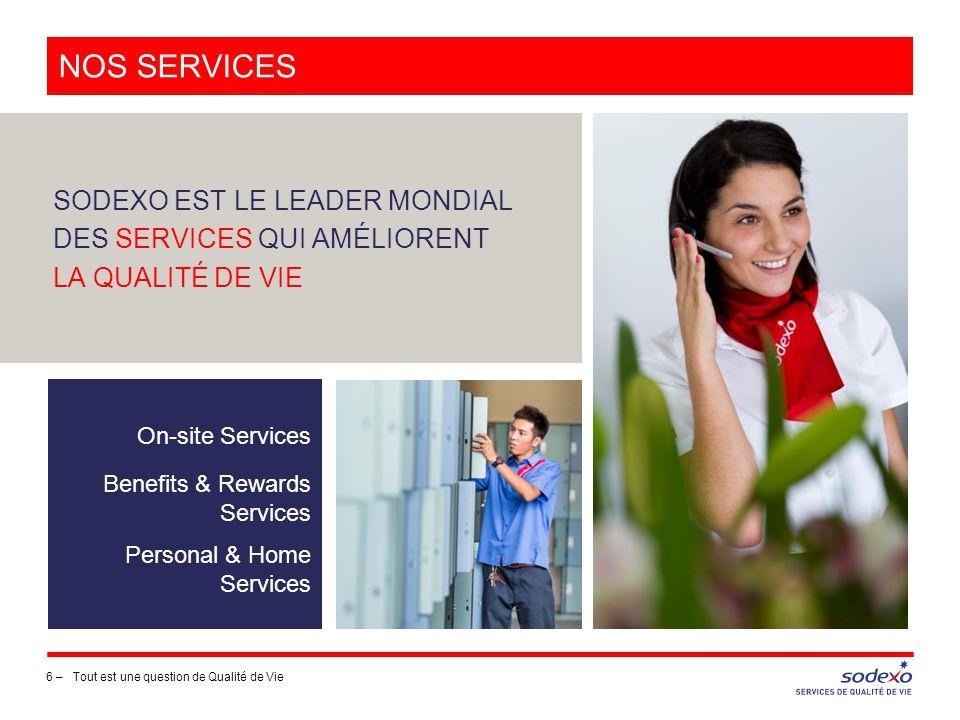 NOS SERVICES 6 –Tout est une question de Qualité de Vie SODEXO EST LE LEADER MONDIAL DES SERVICES QUI AMÉLIORENT LA QUALITÉ DE VIE On-site Services Be