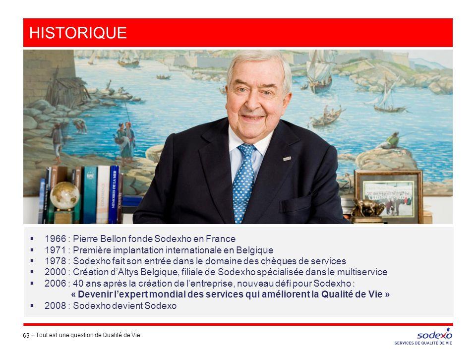 63 –  1966 : Pierre Bellon fonde Sodexho en France  1971 : Première implantation internationale en Belgique  1978 : Sodexho fait son entrée dans le
