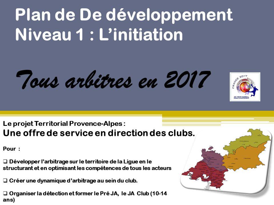 Plan de De développement Niveau 1 : L'initiation Tous arbitres en 2017 Le projet Territorial Provence-Alpes : Une offre de service en direction des cl