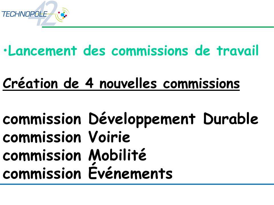 Lancement des commissions de travail Création de 4 nouvelles commissions commission Développement Durable commission Voirie commission Mobilité commission Événements