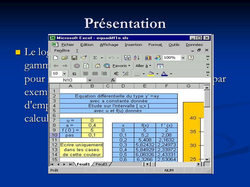 Présentation Le logiciel dispose également de toute une gamme de fonctions qui simplifient la saisie pour réaliser des calculs complexes comme par exe