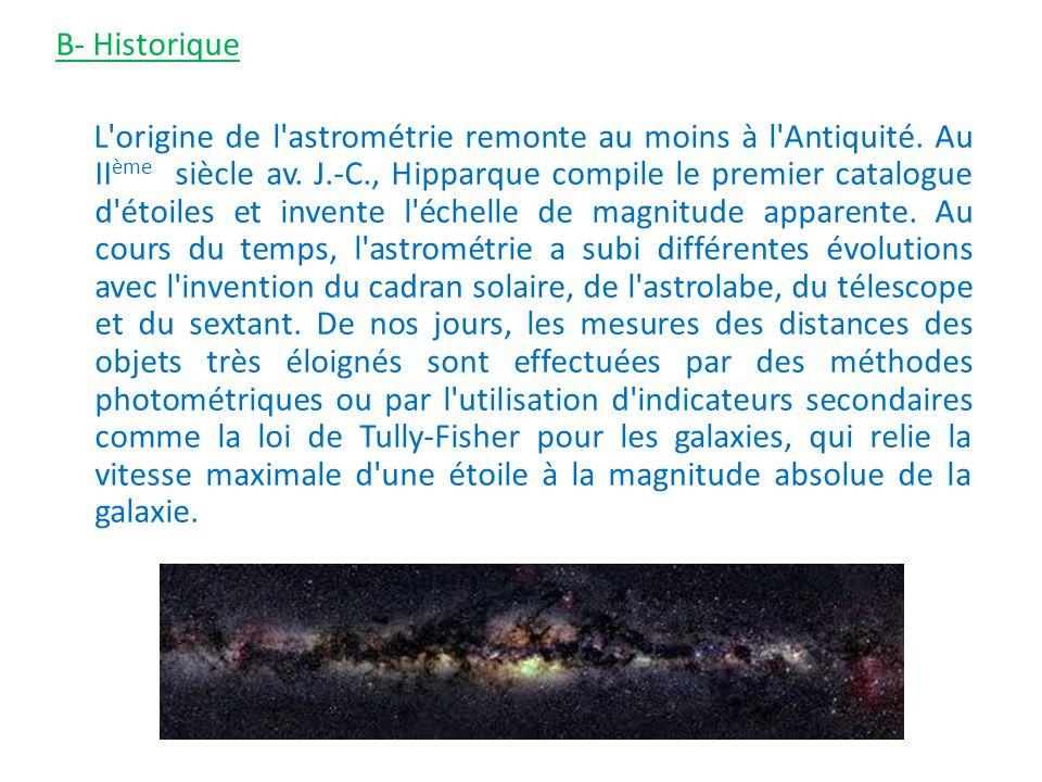 B- Historique L'origine de l'astrométrie remonte au moins à l'Antiquité. Au II ème siècle av. J.-C., Hipparque compile le premier catalogue d'étoiles