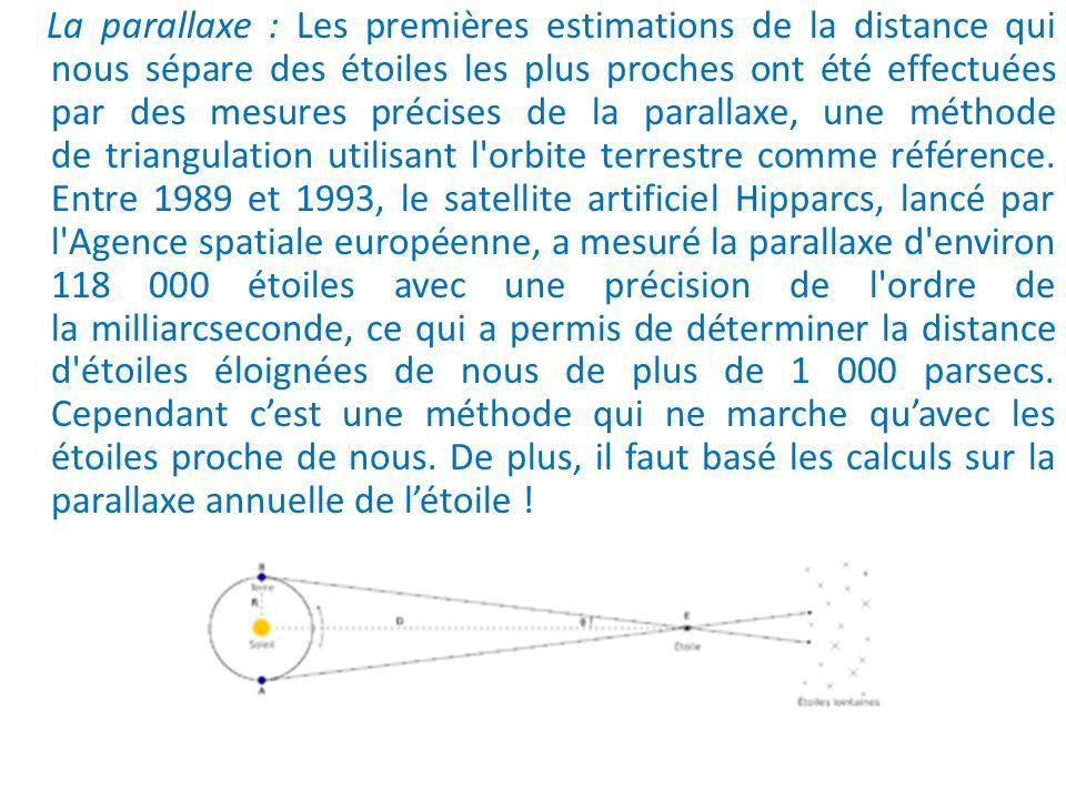 La parallaxe : Les premières estimations de la distance qui nous sépare des étoiles les plus proches ont été effectuées par des mesures précises de la