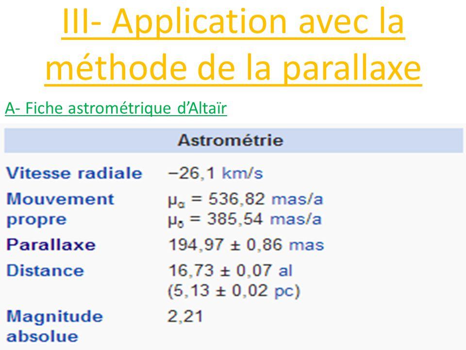 III- Application avec la méthode de la parallaxe A- Fiche astrométrique d'Altaïr