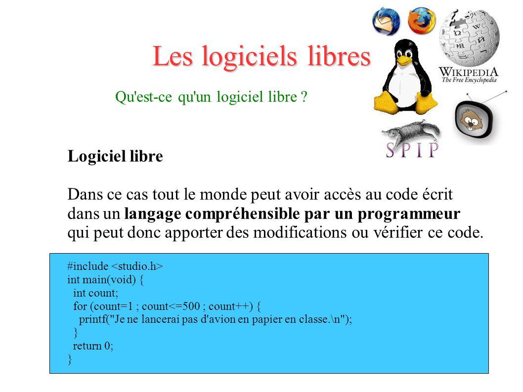 Les logiciels libres Qu est-ce qu un logiciel libre .