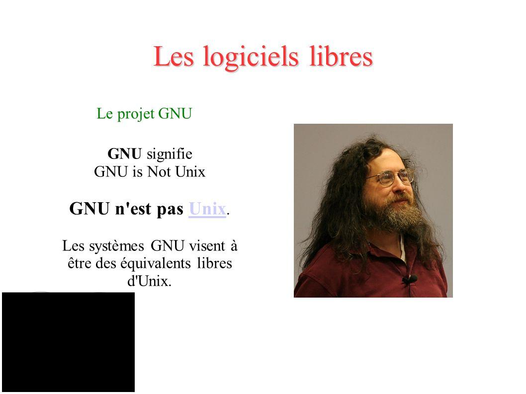 Les logiciels libres Le projet GNU GNU signifie GNU is Not Unix GNU n est pas Unix.Unix Les systèmes GNU visent à être des équivalents libres d Unix.