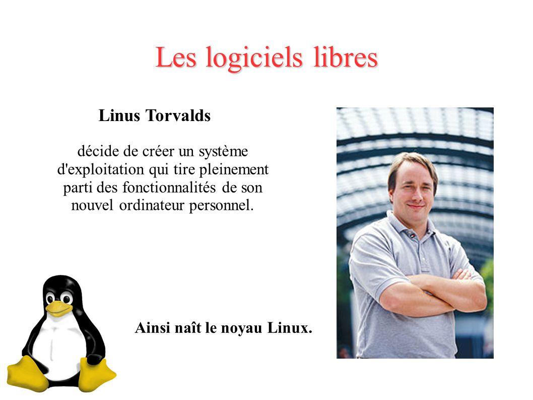 Les logiciels libres Linus Torvalds décide de créer un système d exploitation qui tire pleinement parti des fonctionnalités de son nouvel ordinateur personnel.