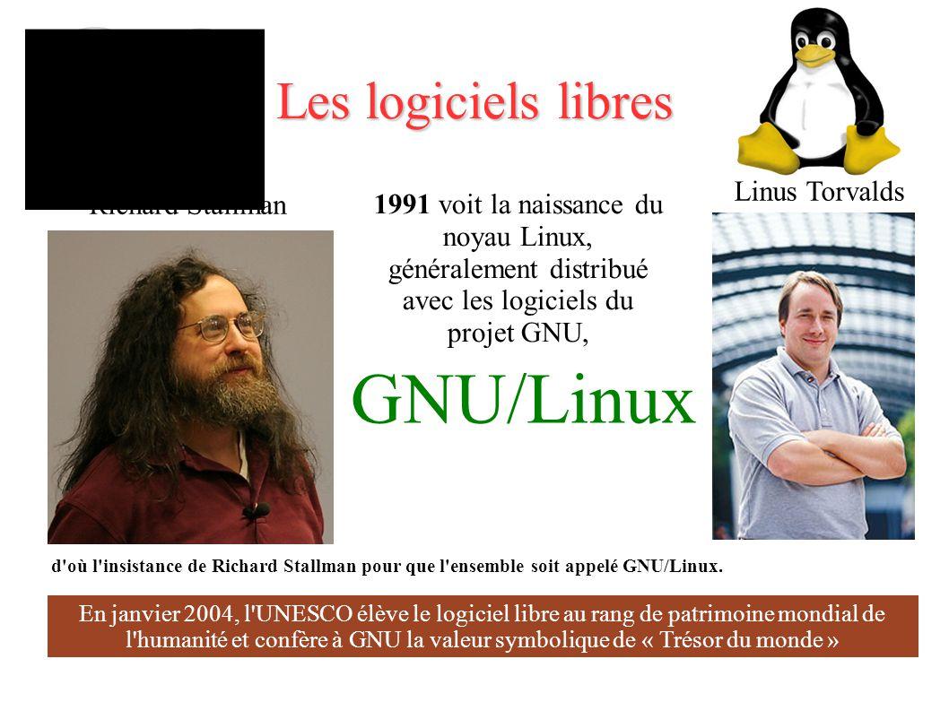 Les logiciels libres Linus Torvalds 1991 voit la naissance du noyau Linux, généralement distribué avec les logiciels du projet GNU, d où l insistance de Richard Stallman pour que l ensemble soit appelé GNU/Linux.