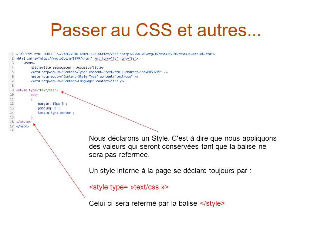 Passer au CSS et autres... Nous déclarons un Style.