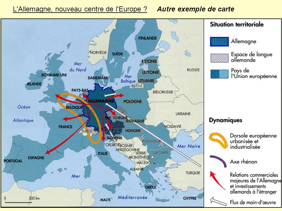 L'Allemagne, nouveau centre de l'Europe ? Autre exemple de carte